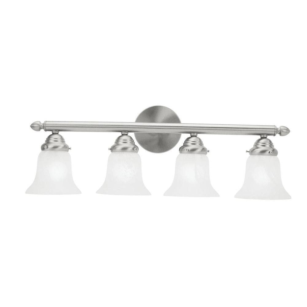 Livex Lighting Providence 4-Light Brushed Nickel Vanity Light with White Alabaster Glass Shade