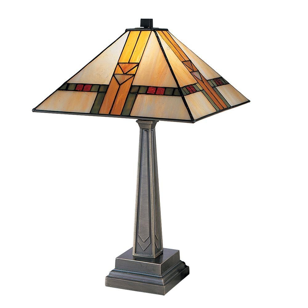 Dale Tiffany 20 75 In Edmund Mission Style Antique Bronze Table Lamp 8655 551 The Home Depot