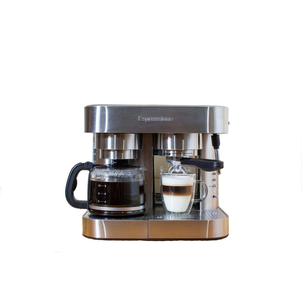 Stainless Steel Combination Espresso Machine and 10-Cup Drip Coffeemaker