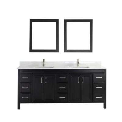 Dawlish 75 in. Vanity in Espresso with Solid Surface Marble Vanity Top in Carrara White and Mirror