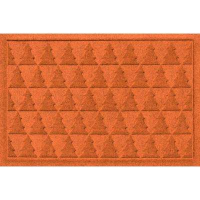 Aqua Shield Pine Trees Orange 17.5 in. x 26.5 in. Door Mat