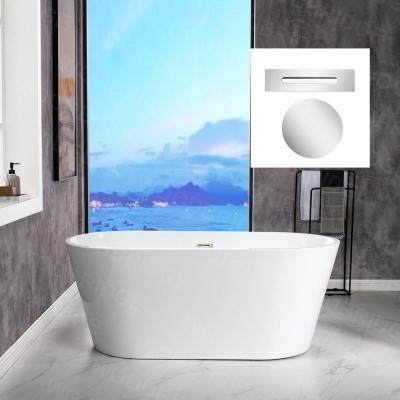 Kristella 59 in. Acrylic FlatBottom Double Ended Bathtub with Polished Chrome Drain and Overflow Included in White