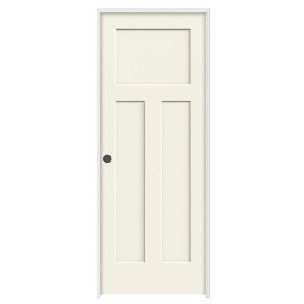 Jeld Wen 28 In X 80 In Craftsman Vanilla Painted Right Hand Smooth Solid Core Molded Composite