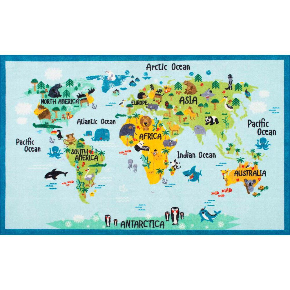 World Map Baby Rug: Animal World Map Baby Blue 5 Ft. X 7 Ft. Area Rug-MCGZ10A