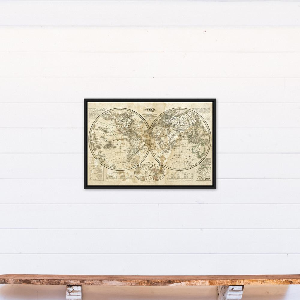 20 in. x 30 in. ''Distressed Vintage Hemispheres'' Printed Framed