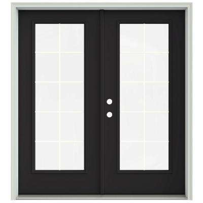 72 in. x 80 in. Chestnut Bronze Painted Steel Right-Hand Inswing 10 Lite Glass Stationary/Active Patio Door