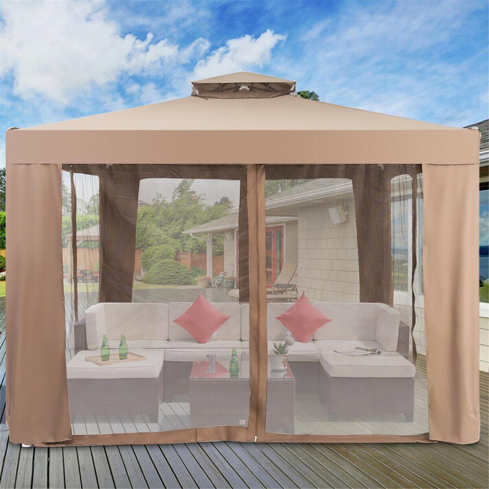 10 Ft Brown Canopy Gazebo Tent Shelter