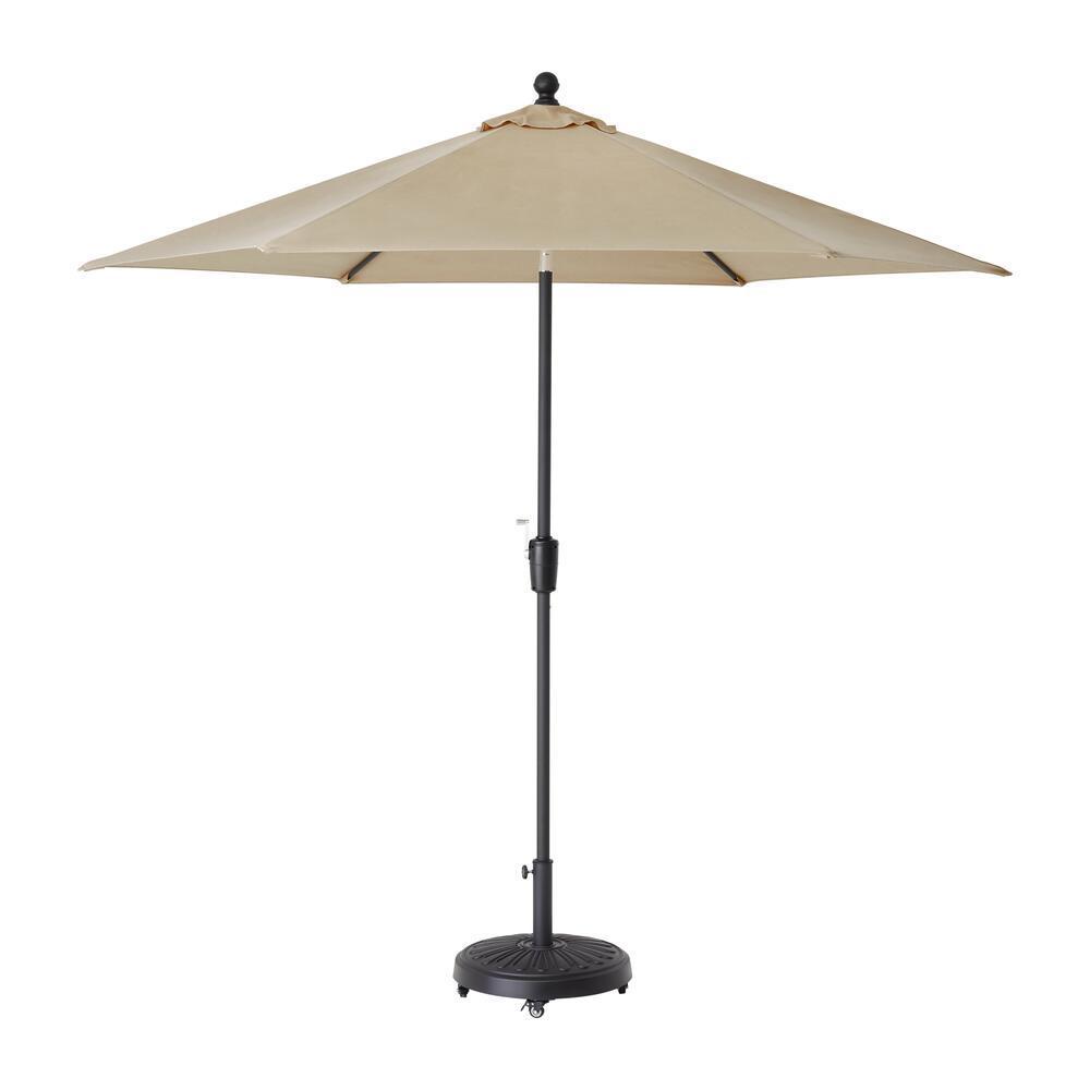 Hampton Bay Hampton Bay 9 ft. Aluminum Market Crank and Tilt Patio Umbrella in Riverbed Taupe