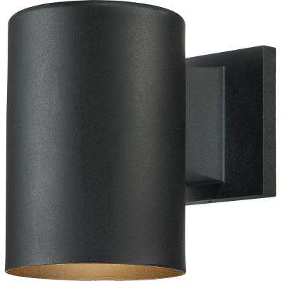 1-Light Black Aluminum Outdoor Cylinder Wall Mount Sconce