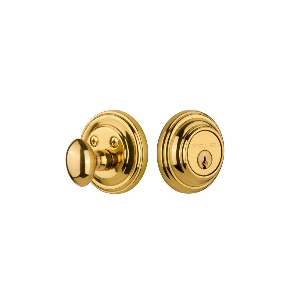 Classic Rosette 2-3/8 in. Backset Single Cylinder Deadbolt in Unlacquered Brass