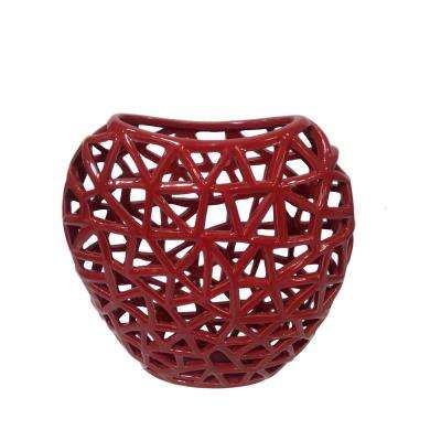 Pierced Red Ceramic Decorative Vase with Glossy Finish