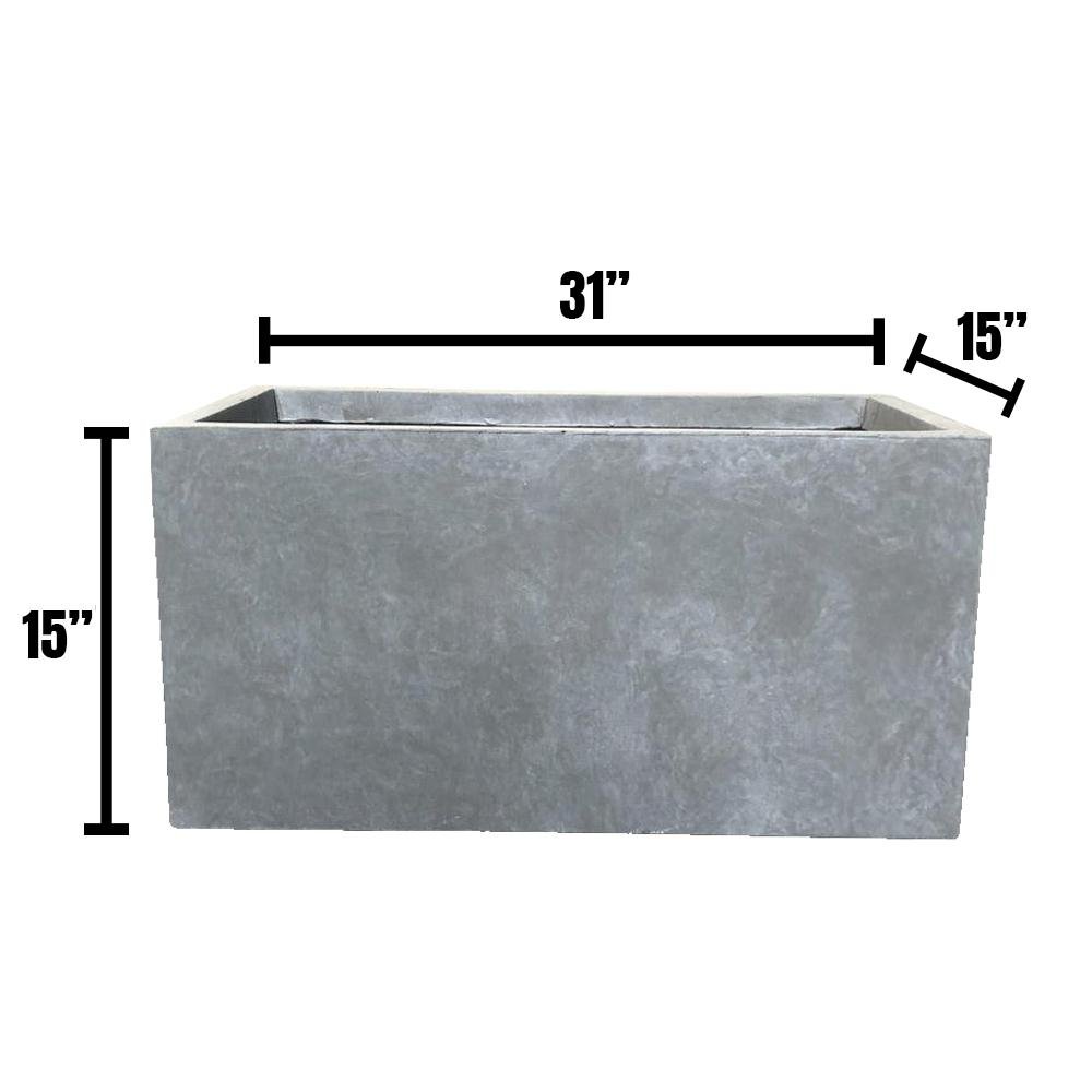 DurX-litecrete Large 31.1 in. x 14.6 in. x 14.8 in. Cement Lightweight Concrete Modern Long Low Planter