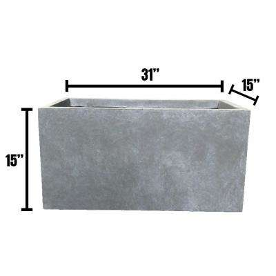 Large 31.1 in. x 14.6 in. x 14.8 in. Cement Lightweight Concrete Modern Long Low Planter