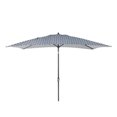 10 ft. x 6 ft. Aluminum Market Patio Umbrella in Midnight Trellis
