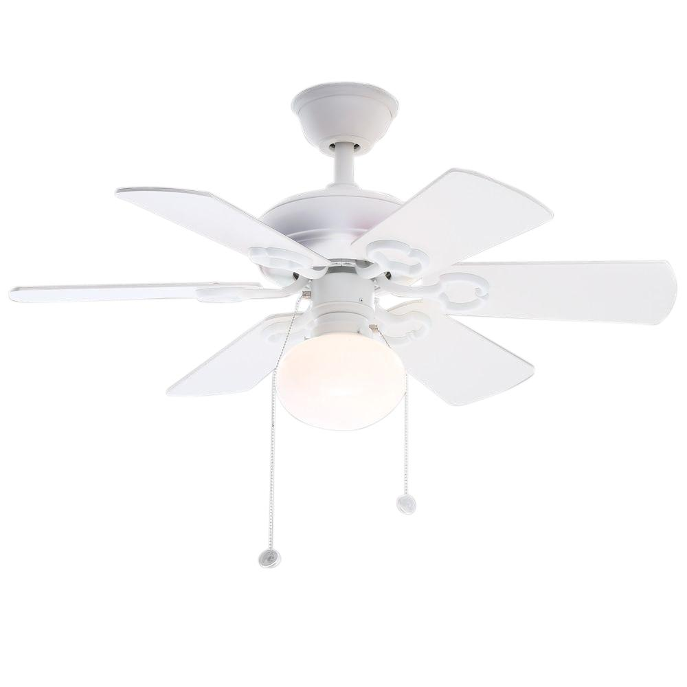 Hampton Bay Minuet Iii 36 In Indoor White Ceiling Fan With Light Kit
