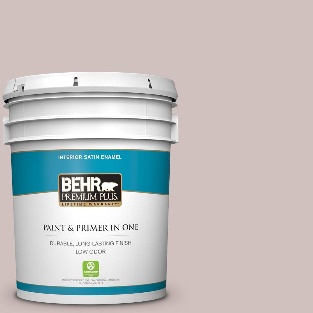 BEHR Premium Plus 5 Gal. #N130-2 Ash Rose Satin Enamel Low