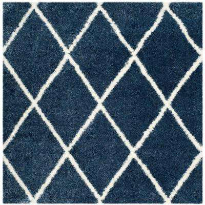 Montreal Shag Blue/Ivory 7 ft. x 7 ft. Square Area Rug