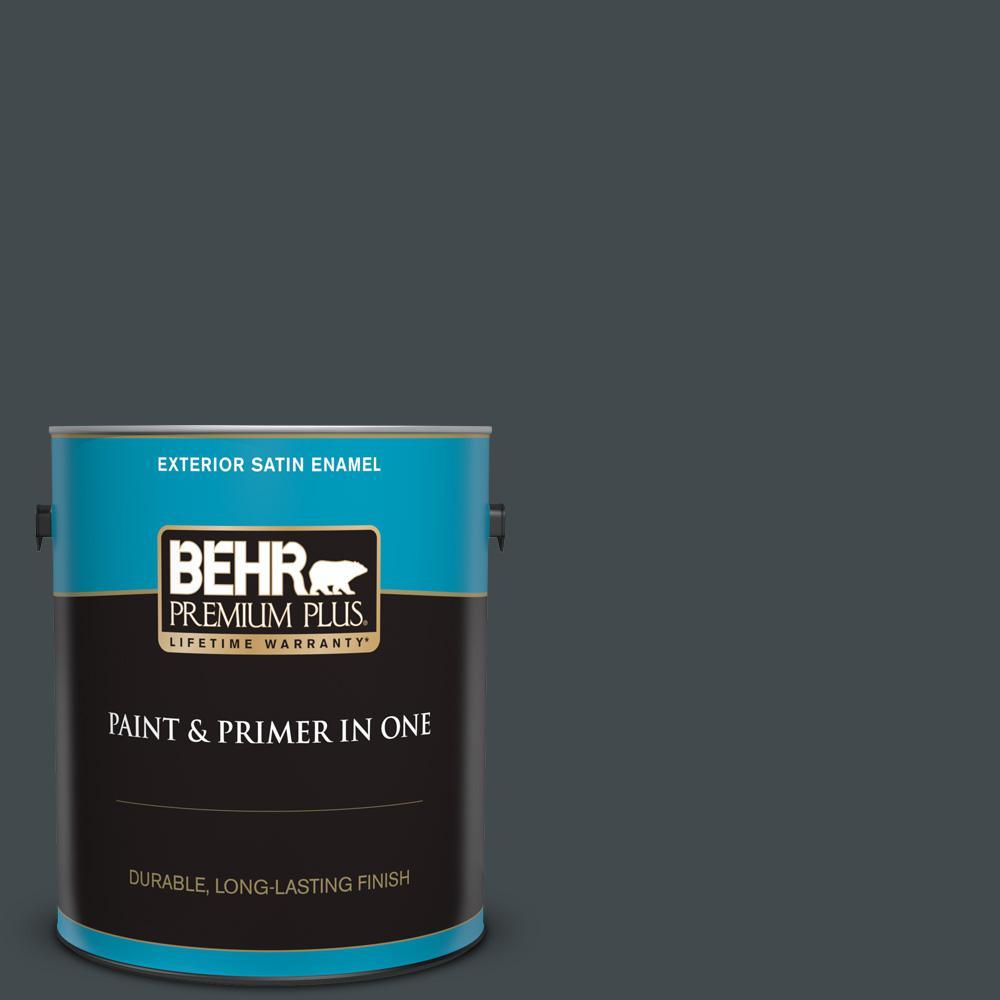 BEHR Premium Plus 1 gal  Black Satin Enamel Exterior Paint