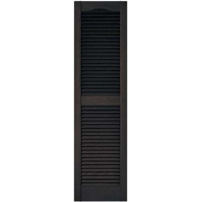 15 in. x 55 in. Louvered Vinyl Exterior Shutters Pair in #010 Musket Brown