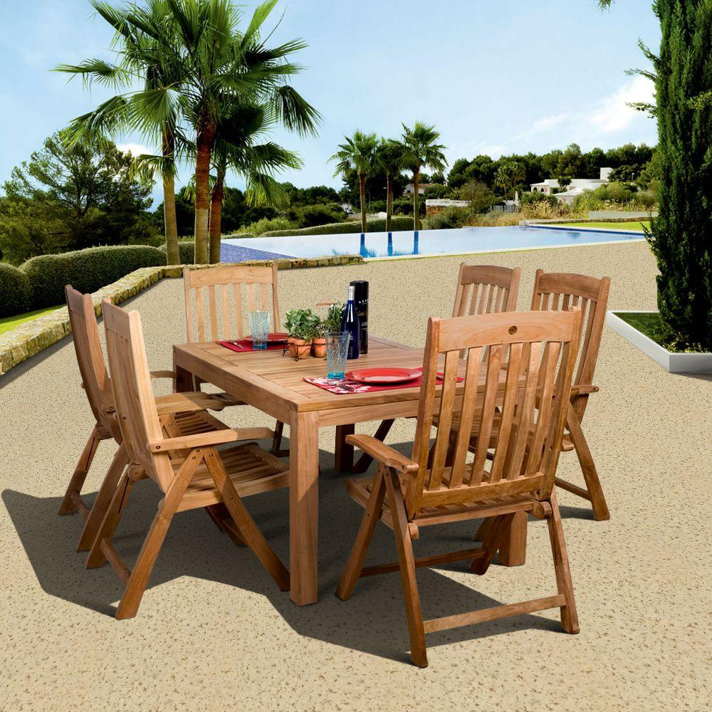 Amazonia bucarest 7 piece teak patio dining set sc for Outdoor dining sets for 12