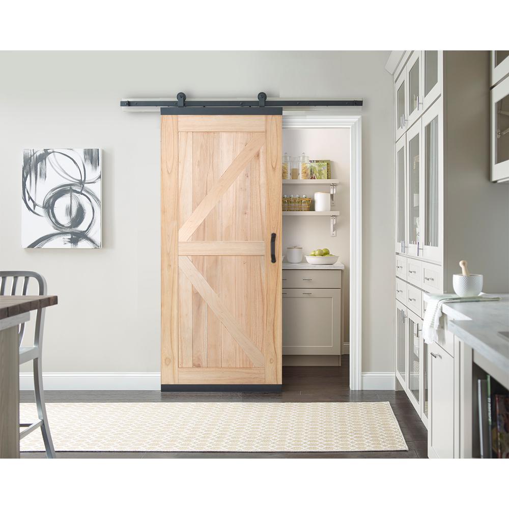 36 in. x 80 in. DesignGlide Farmhouse Unfinished Solid Wood 4-Panel Sliding Barn Door w/ Black Hardware Kit