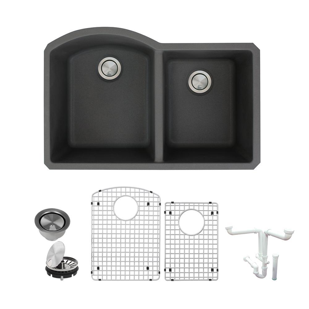 Aversa All-in-One Undermount Granite 31 in. 1-3/4 in. D-Shape Double Bowl Kitchen Sink in Black