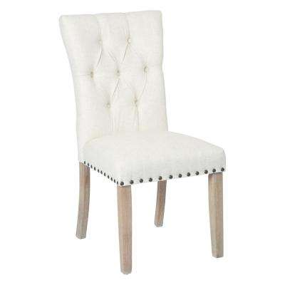 Preston Linen Fabric Dining Chair with Bronze Nailheads and Brushed Legs