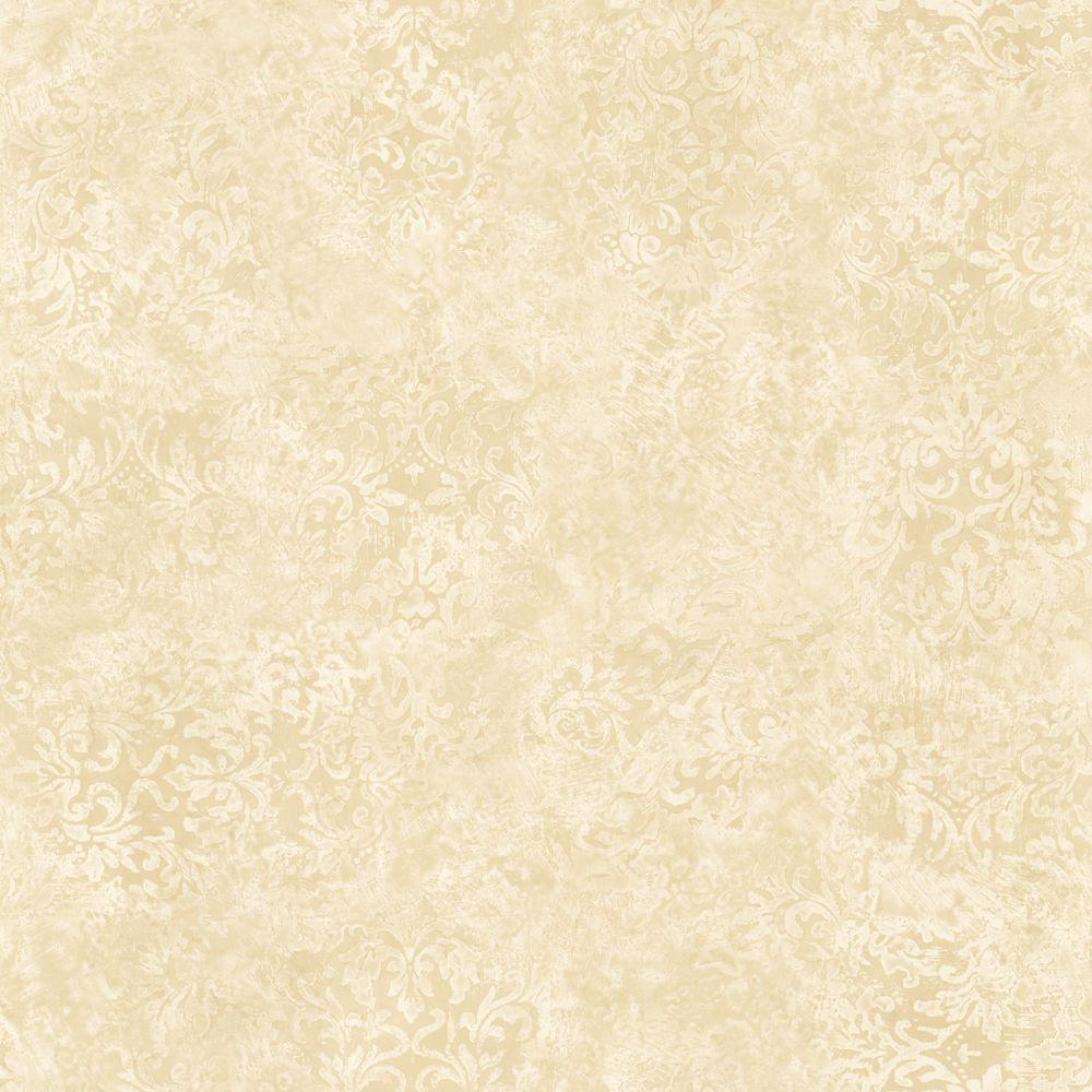 The Wallpaper Company 8 in. x 10 in. Beige Damask Wallpaper Sample