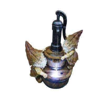 12 in. Old Fashion Water Pump with 2 Gnomes Tabletop Fountain