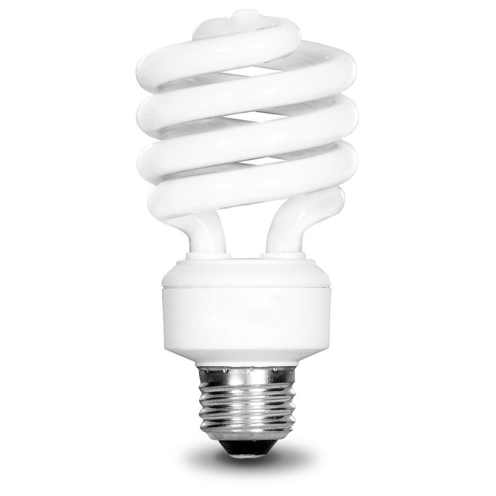 100-Watt Equivalent T3 Spiral Non-Dimmable E26 Base Compact Fluorescent CFL Light Bulb, Daylight 5000K (4-Pack)