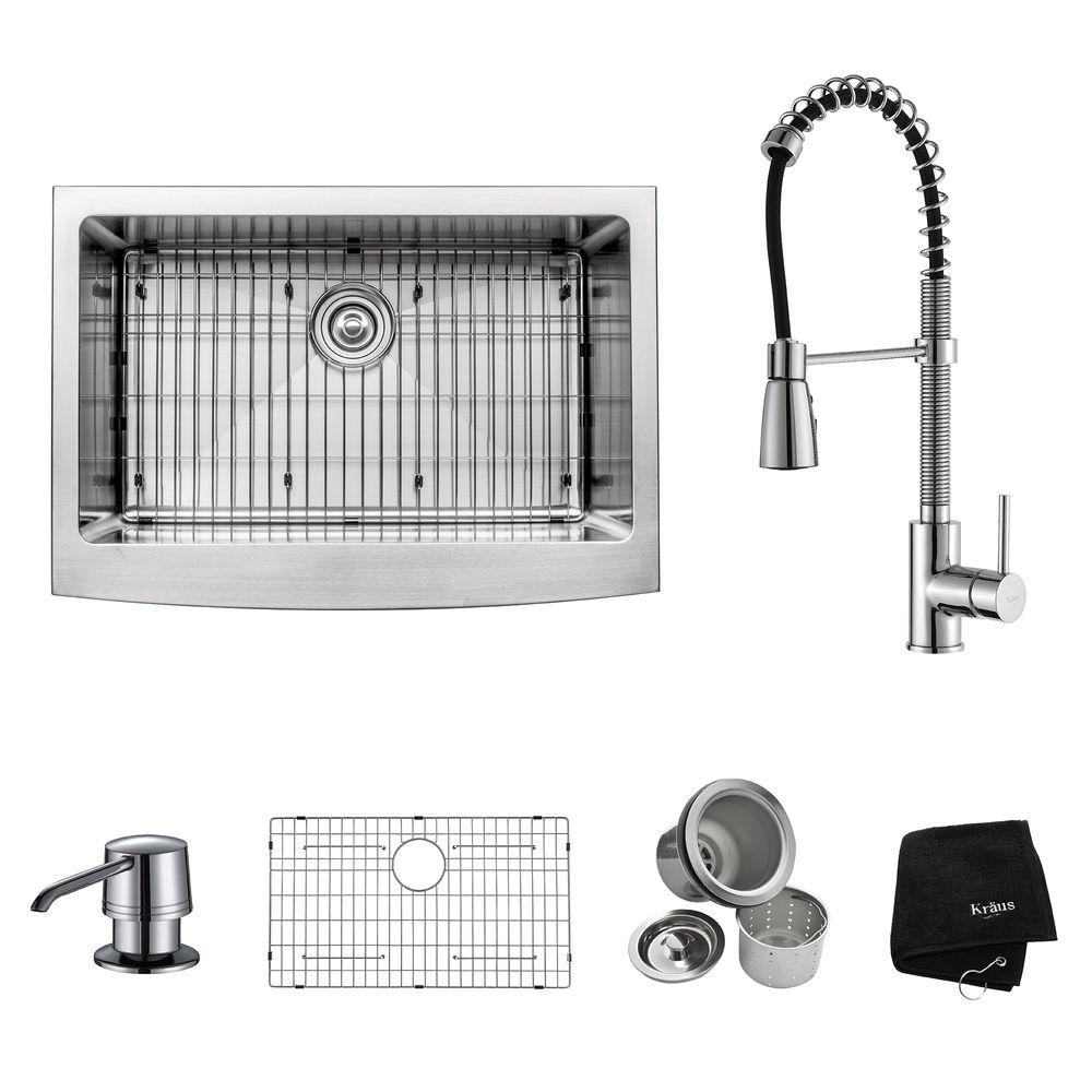KRAUS All In One Farmhouse Apron Front Stainless Steel 30 In. Single Bowl Kitchen  Sink With Faucet And Accessories In Chrome KHF200 30 KPF1612 KSD30CH   The  ...