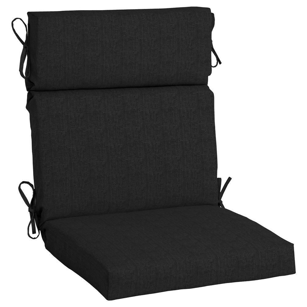 21.5 x 44 Sunbrella Canvas Black High Back Outdoor Dining Chair Cushion