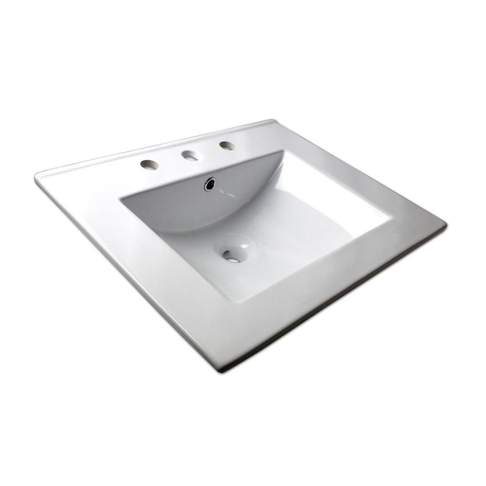 Sauberzen Drop-In Corner Vitreous China Bathroom Sink in White