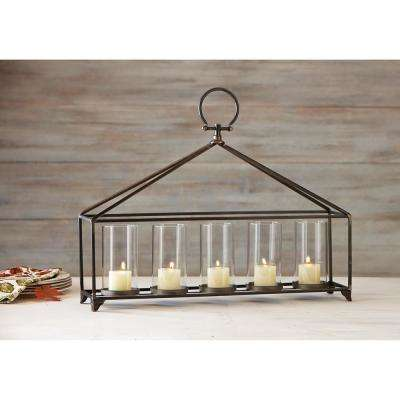 Bradbury Antique Bronze Iron and Glass Candle Holder