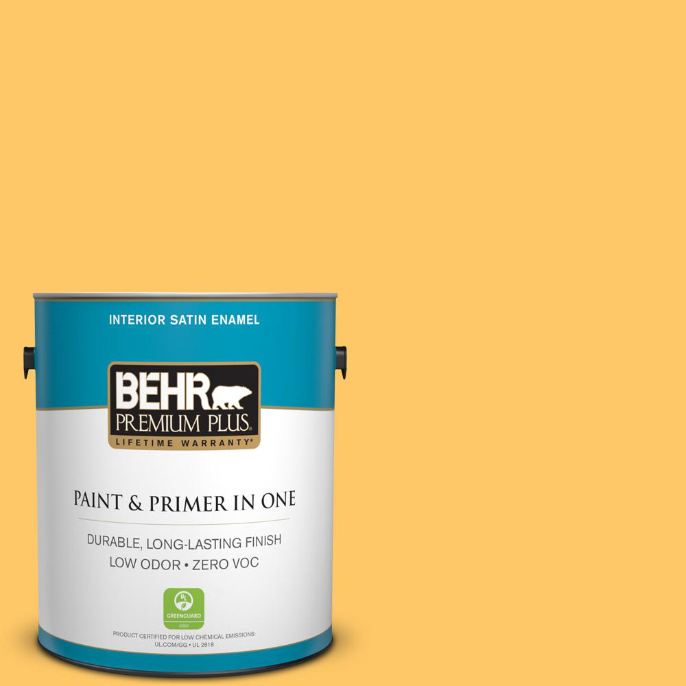 1 gal. #HDC-SP16-05 Daffodil Satin Enamel Zero VOC Interior Paint and
