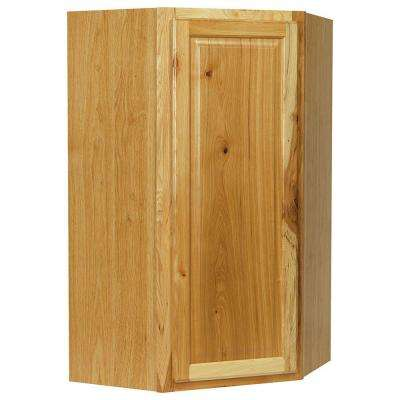 Hampton Assembled 24x42x12 in. Diagonal Corner Wall Kitchen Cabinet in Natural Hickory