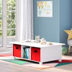 RiverRidge Home Kids White 6-Cubby Storage Activity Table with 2-Piece Red Bins
