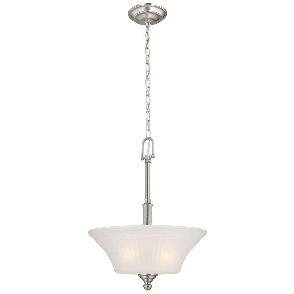 Commercial electric 3 light brushed nickel pendant with frosted commercial electric 3 light brushed nickel pendant with frosted glass shade hon8913a the home depot arubaitofo Choice Image