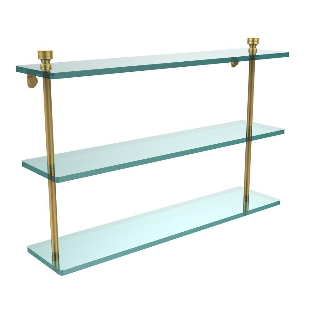 Foxtrot 22 in. L  x 15 in. H  x 5 in. W 3-Tier Clear Glass Bathroom Shelf in Polished Brass