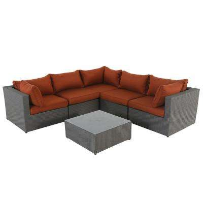 Becket 6-Piece Wicker Outdoor Sectional with Red Cushions