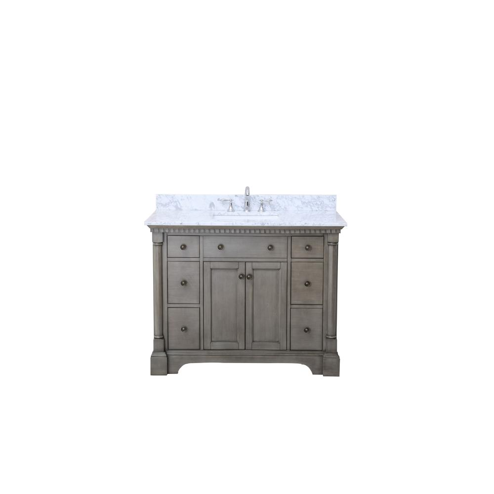 Ari Kitchen And Bath Stella 43 In Single Vanity Antique Gray With Marble