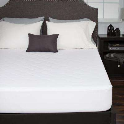 King 16 in. Down Alternative Cotton Mattress Pad with Fitted Skirt