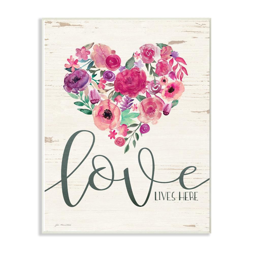 13 In X 19 In Love Lives Here Flowers Heart White Wood By Jo Moulton Wood Wall Art