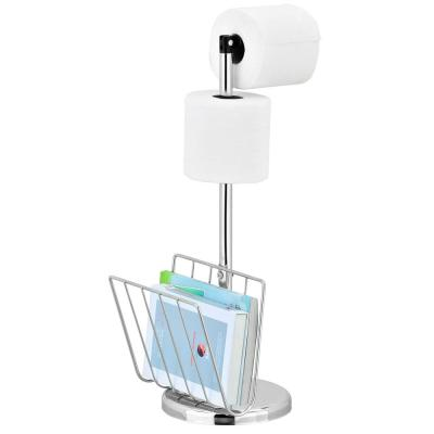Wayar Toilet Paper Holder with Magazine Stand in Silver