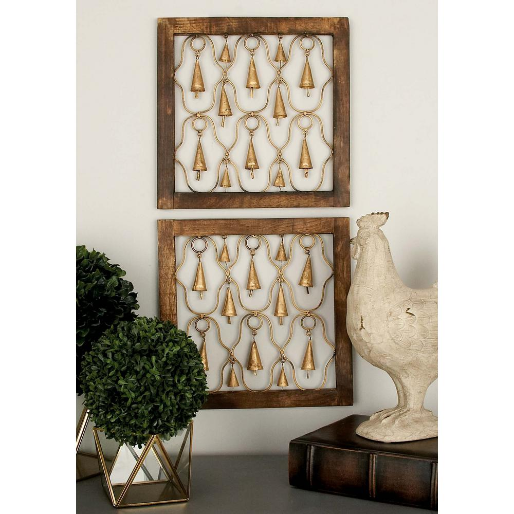 Litton Lane 16 in. x 16 in. Rustic Mango Wood and Iron Decorative Bells Square Wall Panels (2-Pack)