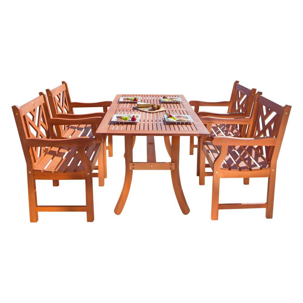 Vifah Malibu 5 Piece Wood Rectangle Outdoor Dining Set