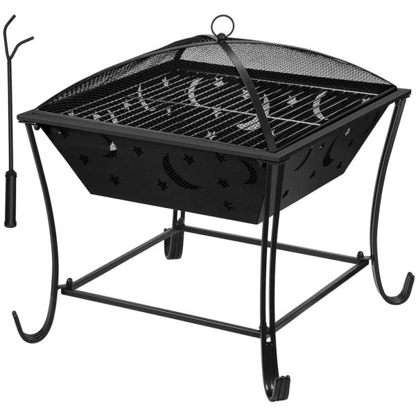 24 in. x 26.2 in. Square Metal Wood Burning Fire Bowl BBQ Grill Outdoor Fire Pit with Mesh Spark Screen Cover
