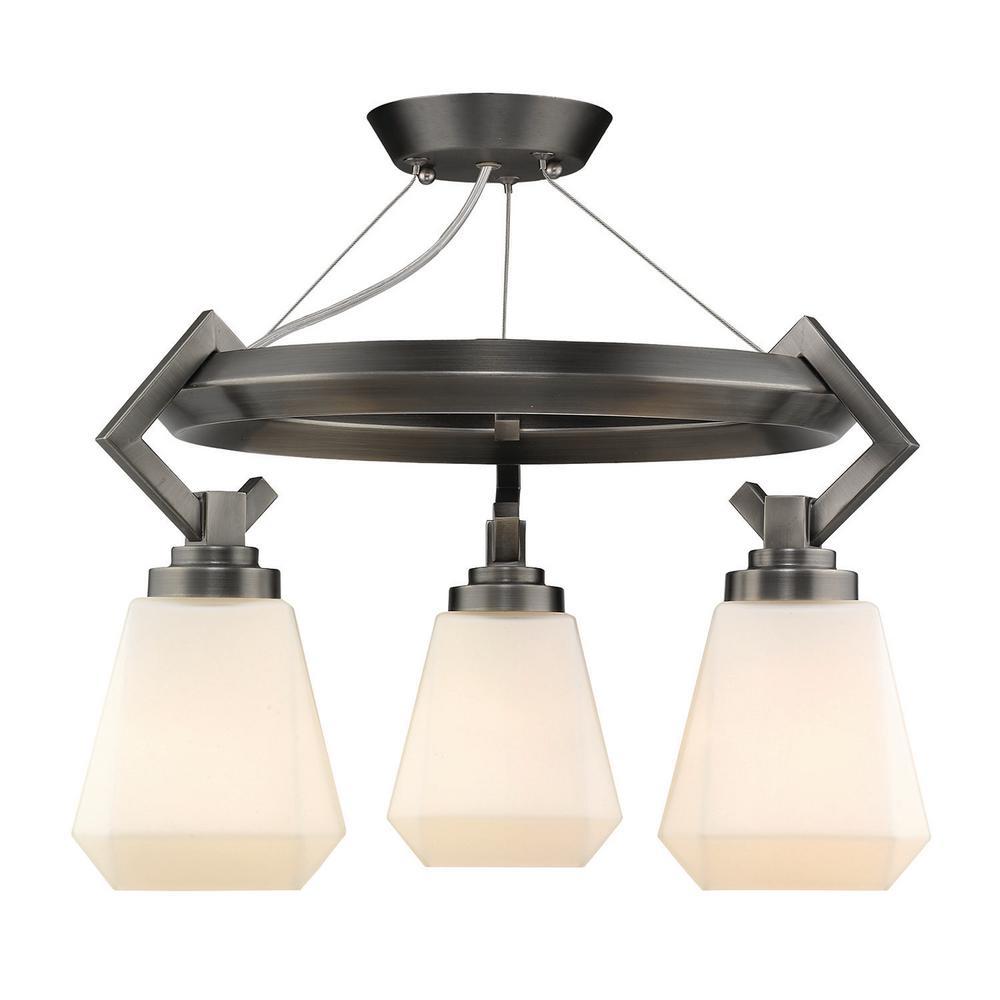 Golden Lighting Hollis 14 In 3 Light Aged Steel Semi Flush Mount