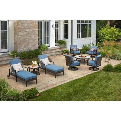 Whitfield Dark Brown Wicker Outdoor Patio Chaise Lounge with Standard Steel Blue Cushions (2-Pack)