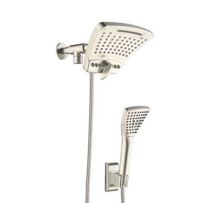 6-spray 8 in. High Pressure Dual Shower Head and Handheld Shower Head with Body spray in Brushed-Nickel